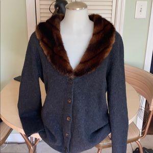 Lauren Ralph Lauren faux fur collar wool cardigan.